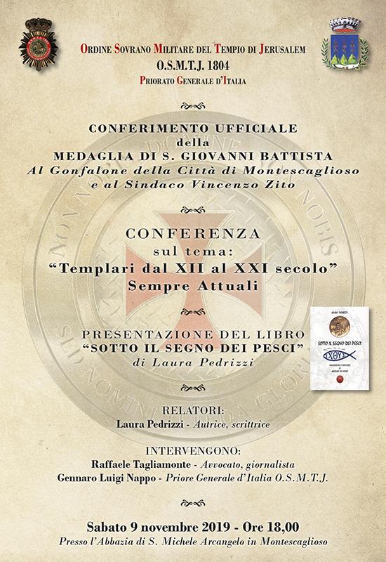 """Montescaglioso (MT) . Presentazione Libro """"Sotto il Segno dei Pesci"""" e Conferimento della Medaglia di San Giovanni Battista al Gonfalone"""