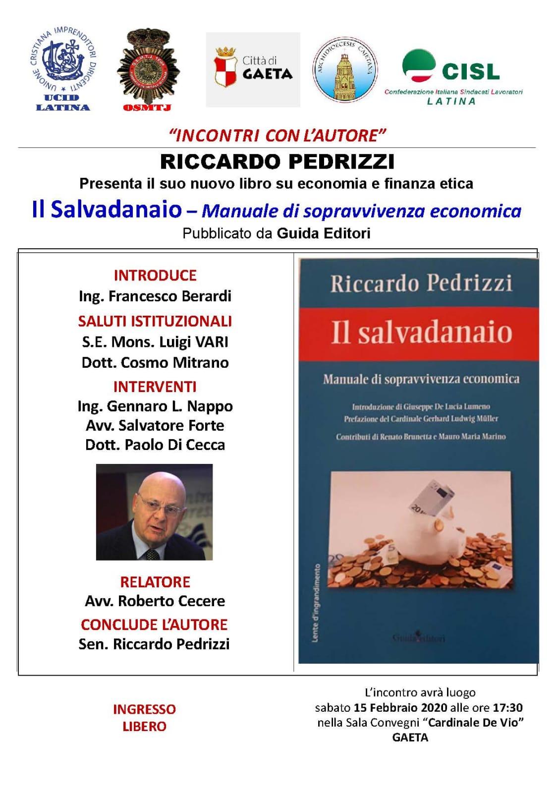 """Gaeta – Presentazione del libro """"Il Salvadanaio"""" del Sen. Riccardo Pedrizzi il 15-02-2020"""